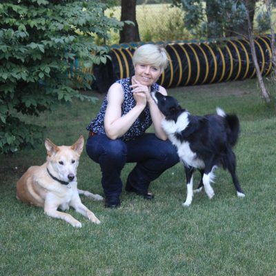 Yvette with her dogs